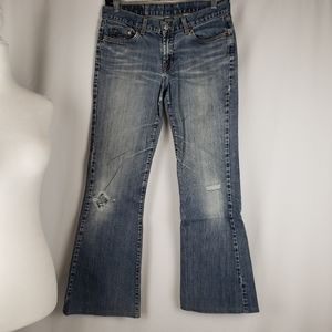 Lucky Brand Dungarees Flare Distressed Jeans